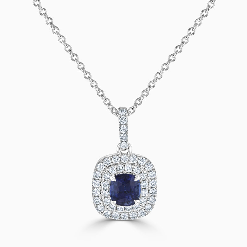 18ct White Gold Cushion Sapphire & Diamond Double Halo Pendant
