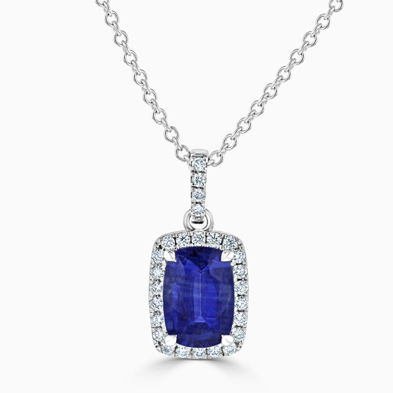 18ct White Gold Cushion Sapphire & Diamond Halo Pendant