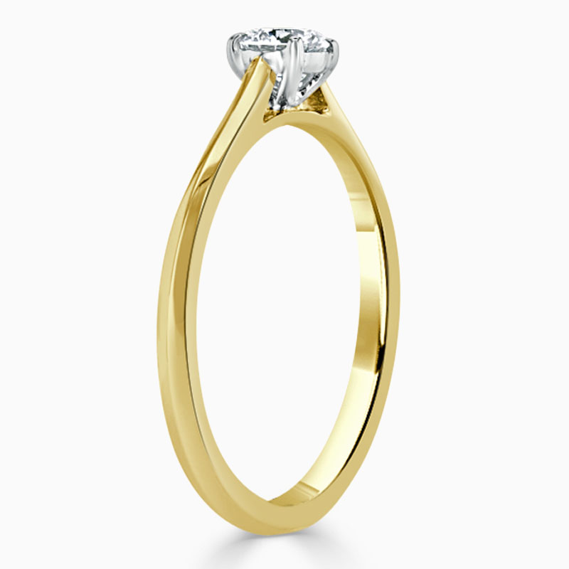 18ct Yellow Gold Round Brilliant Classic Wedfit Engagement Ring with Round, 0.25ct, F Colour, VS2 Clarity - GIA