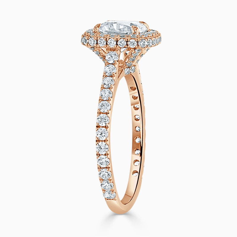 18ct Rose Gold Cushion Cut Original Halo Engagement Ring
