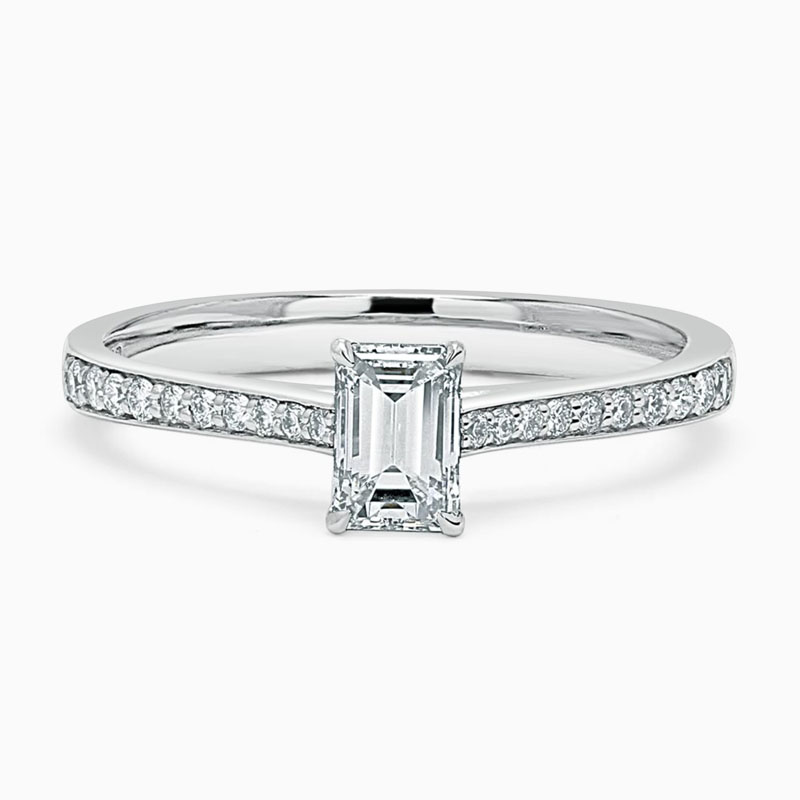 Platinum 950 Emerald Cut Tapered Pavé Engagement Ring with Emerald, 0.49ct, F Colour, VS1 Clarity - GIA