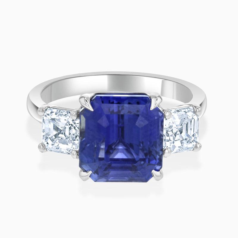 Platinum Asscher Cut Sapphire & Diamond Three Stone Ring