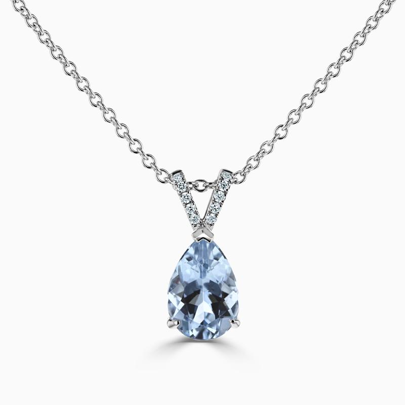 18ct White Gold Pear Shape Aquamarine & Diamond Pendant