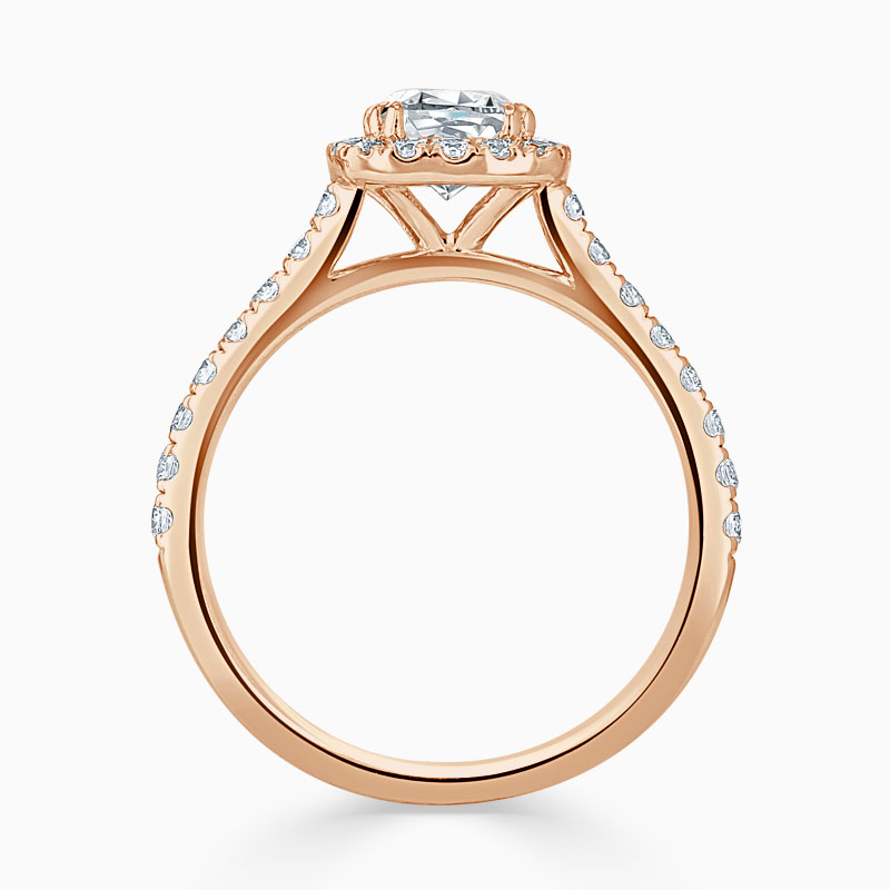 18ct Rose Gold Cushion Cut Classic Wedfit Halo Engagement Ring