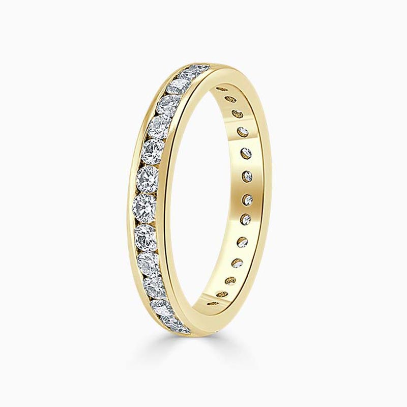 18ct Yellow Gold 3.00mm Round Brilliant Channel Set Full Eternity Ring