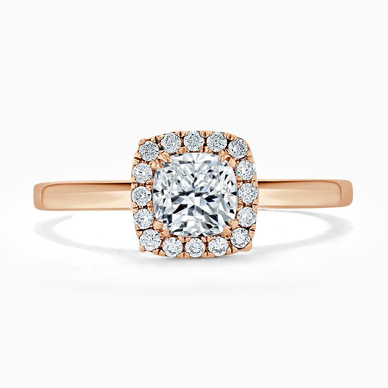 18ct Rose Gold Cushion Cut Classic Plain Halo Engagement Ring