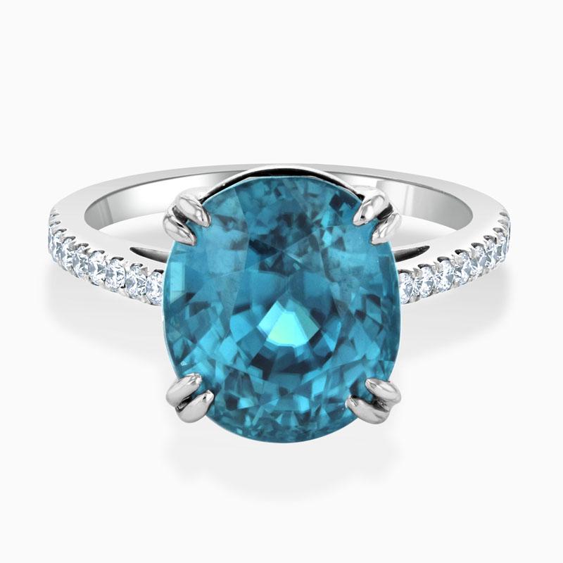18ct White Gold Oval Blue Ziron & Diamond Ring