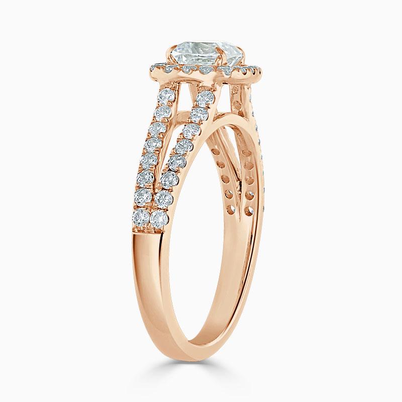 18ct Rose Gold Cushion Cut Split Shoulder Halo Engagement Ring