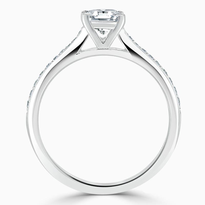 Platinum Princess Cut Tapered Pavé Engagement Ring