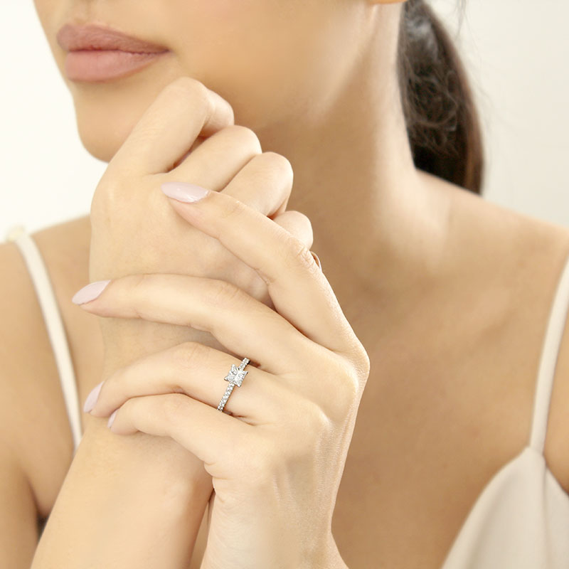 Platinum Princess Cut Classic Wedfit Cutdown Engagement Ring