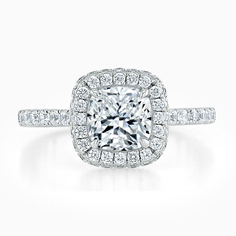 18ct White Gold Cushion Cut Original Halo Engagement Ring