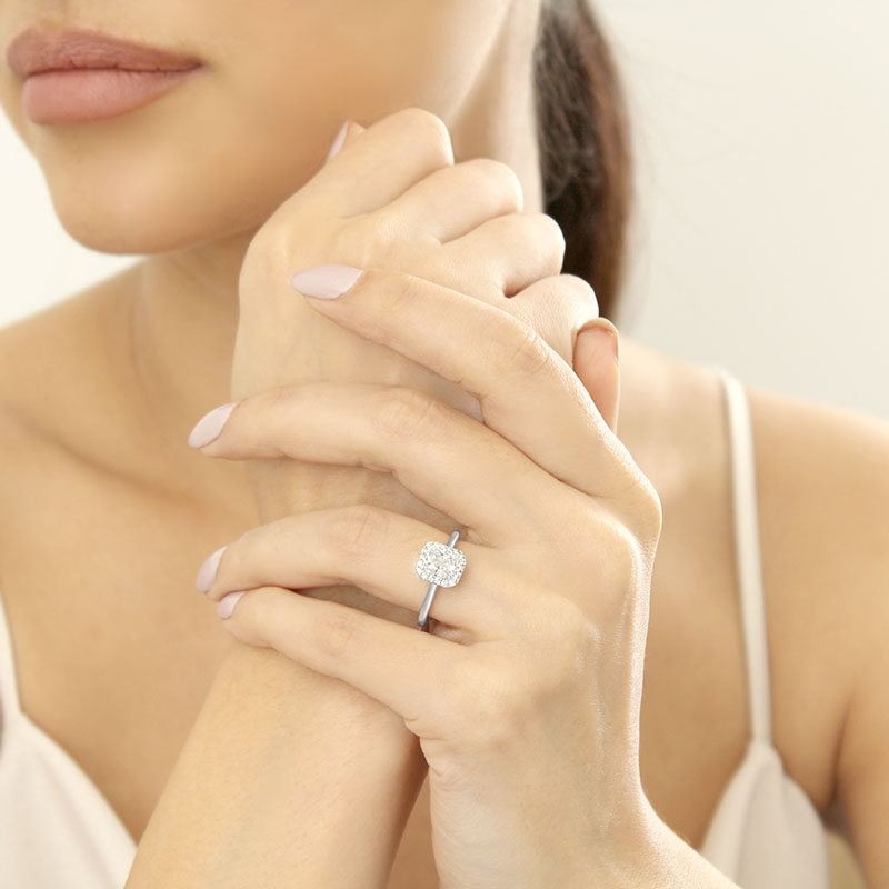 Platinum Radiant Cut Classic Plain Halo Engagement Ring