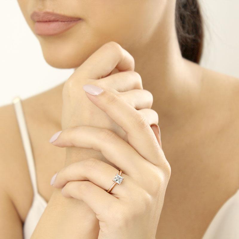 18ct Rose Gold Princess Cut Classic Wedfit Engagement Ring