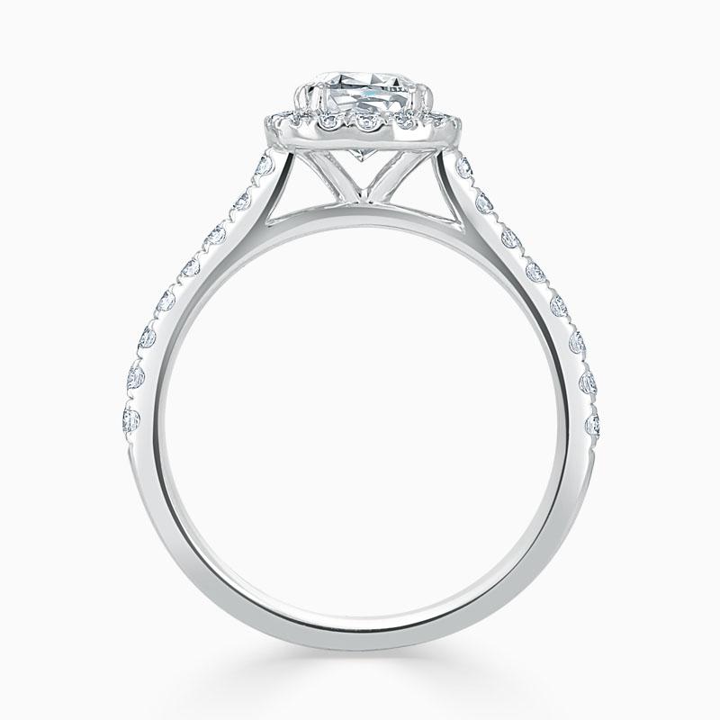 Platinum Cushion Cut Classic Wedfit Halo Engagement Ring