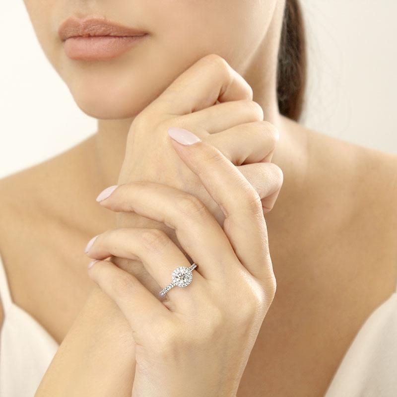 Platinum Round Brilliant Classic Wedfit Halo Engagement Ring