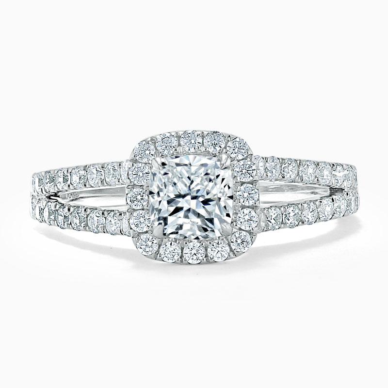 Platinum Cushion Cut Split Shoulder Halo Engagement Ring
