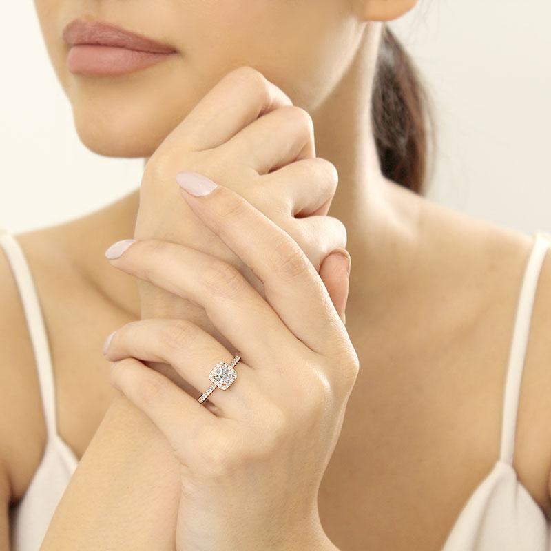 18ct Rose Gold Asscher Cut Classic Wedfit Halo Engagement Ring
