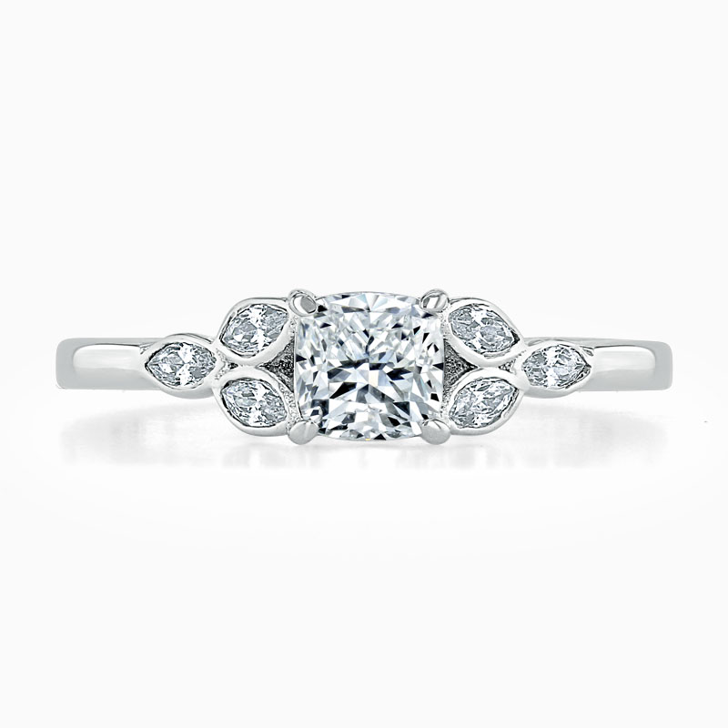 Platinum Cushion Cut Leaf Engagement Ring