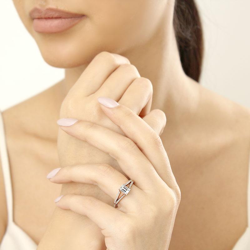 18ct Rose Gold Emerald Cut Cutdown Split Shoulder Engagement Ring