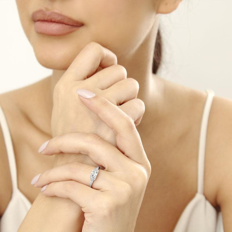 Platinum Cushion Cut Leaf Engagement Ring