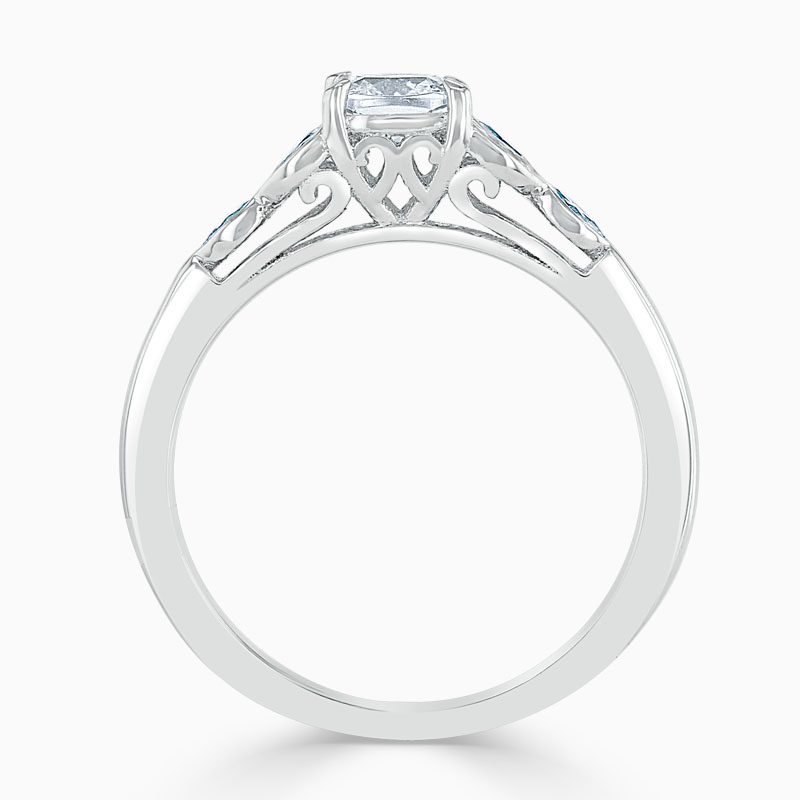 18ct White Gold Cushion Cut Leaf Engagement Ring