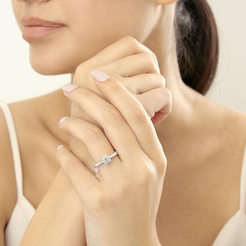 18ct White Gold Round Brilliant High Set Engagement Ring