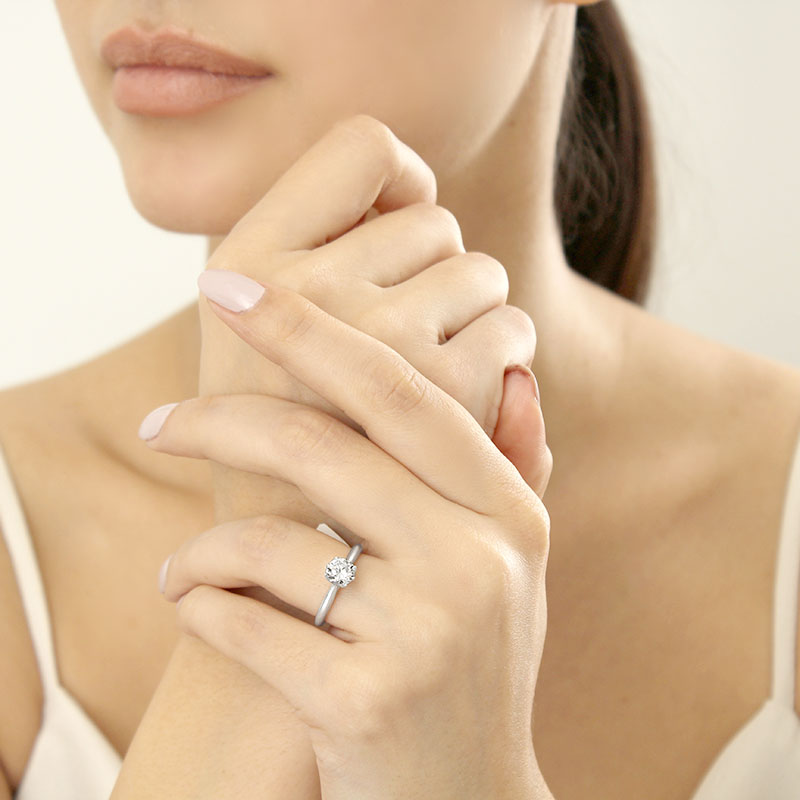 Platinum Round Brilliant Diamond Set Lotus Engagement Ring