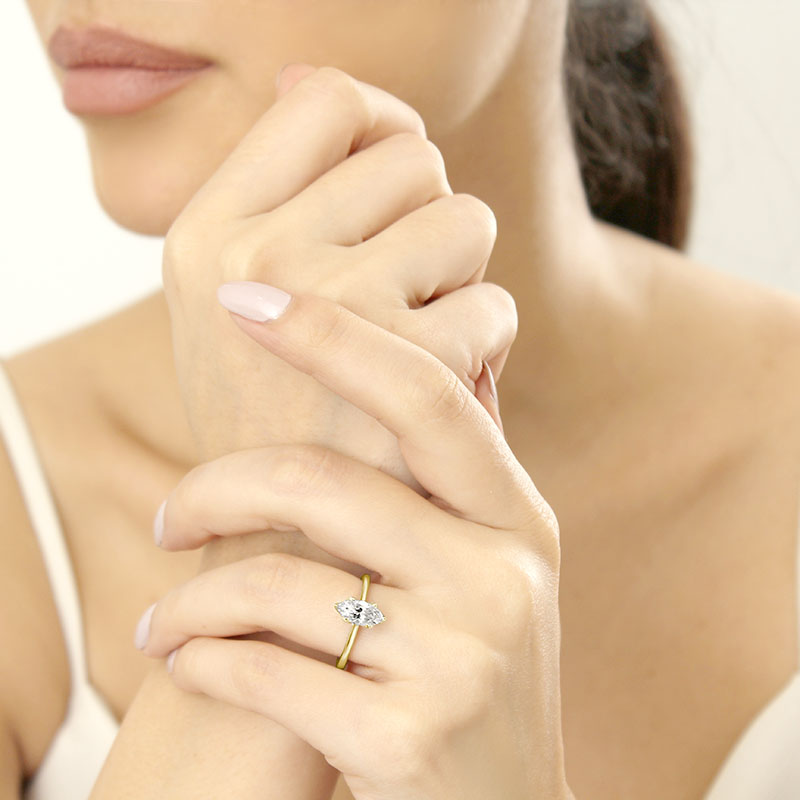 18ct Yellow Gold Marquise Cut Diamond Set Lotus Engagement Ring