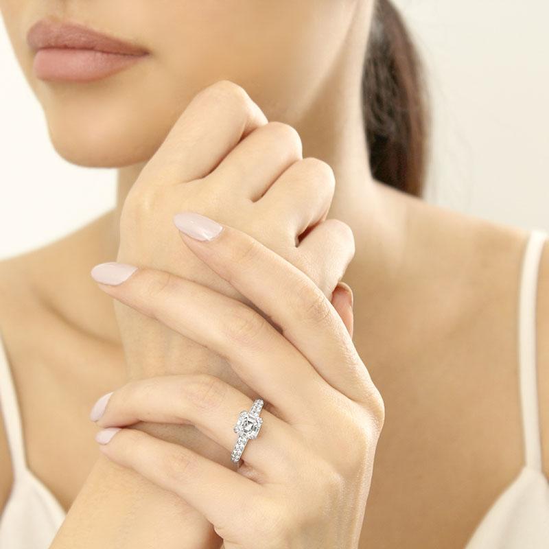 18ct White Gold Asscher Cut Milgrain Pavé Engagement Ring