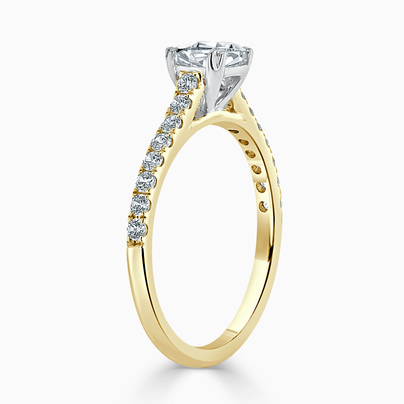 18ct Yellow Gold Cushion Cut Classic Wedfit Cutdown Engagement Ring