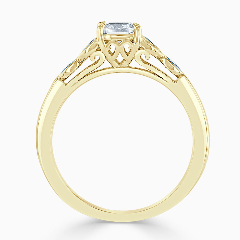 18ct Yellow Gold Cushion Cut Leaf Engagement Ring