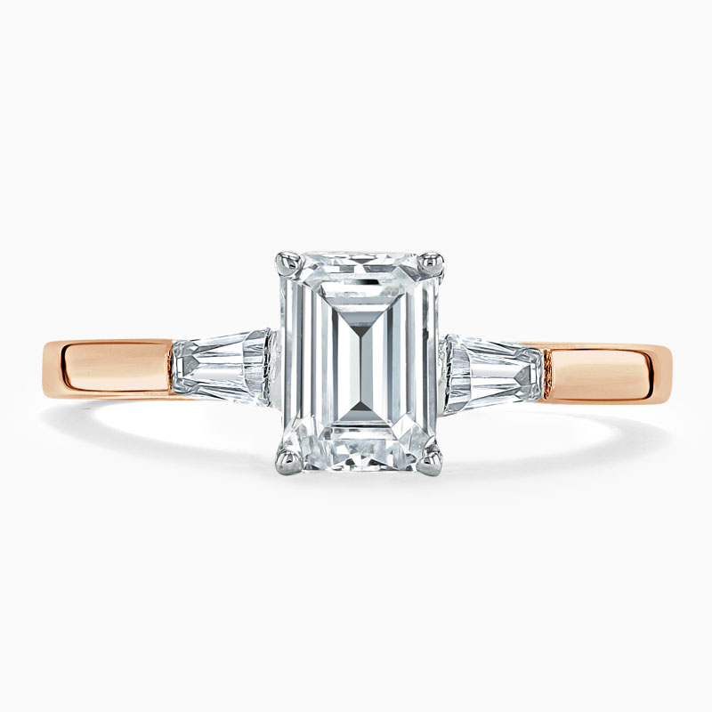 18ct Rose Gold Emerald Cut 3 Stone with Tapers Engagement Ring