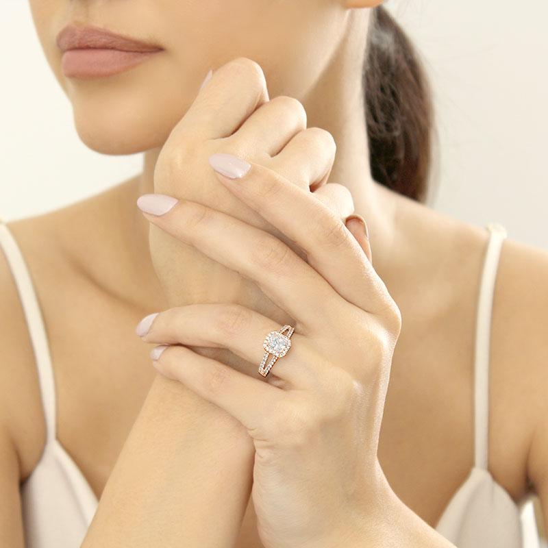 18ct Rose Gold Radiant Cut Split Shoulder Halo Engagement Ring