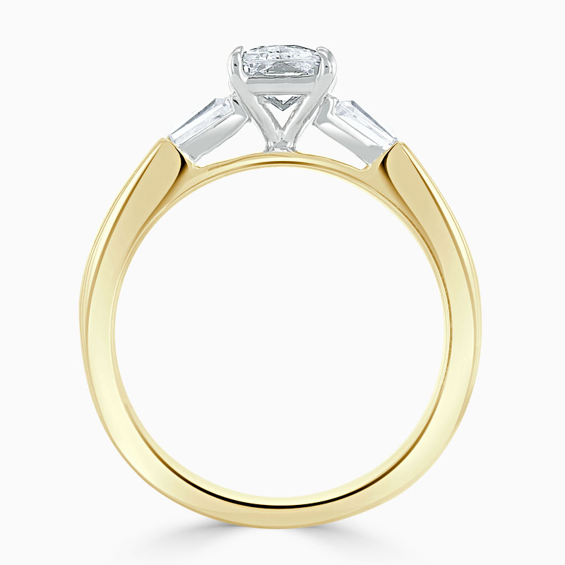 18ct Yellow Gold Emerald Cut 3 Stone with Tapers Engagement Ring