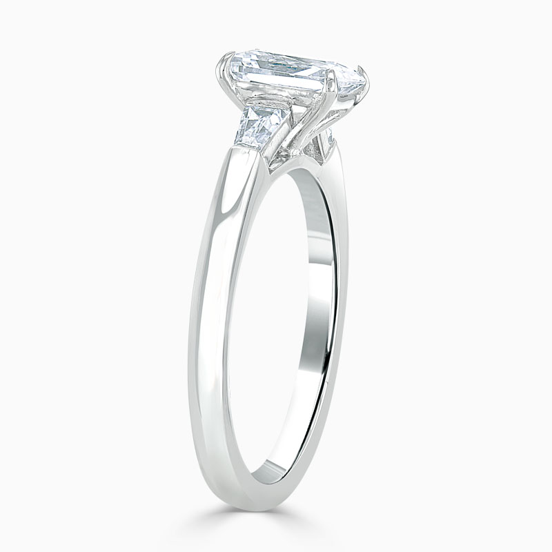 18ct White Gold Emerald Cut 3 Stone with Tapers Engagement Ring