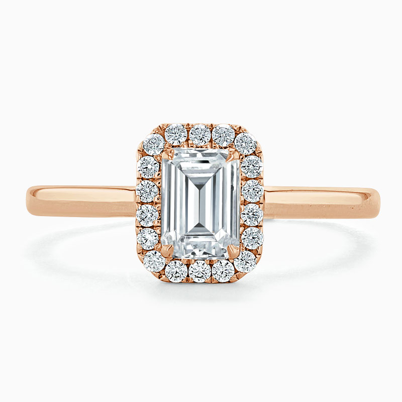 18ct Rose Gold Emerald Cut Classic Plain Halo Engagement Ring