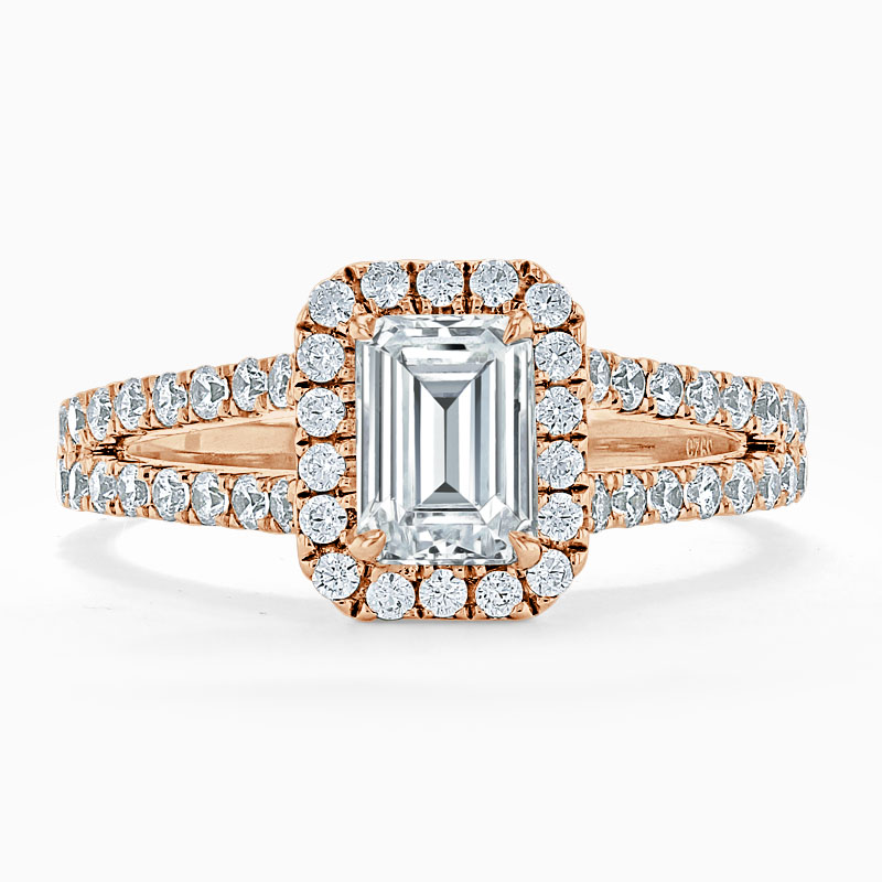 18ct Rose Gold Emerald Cut Split Shoulder Halo Engagement Ring
