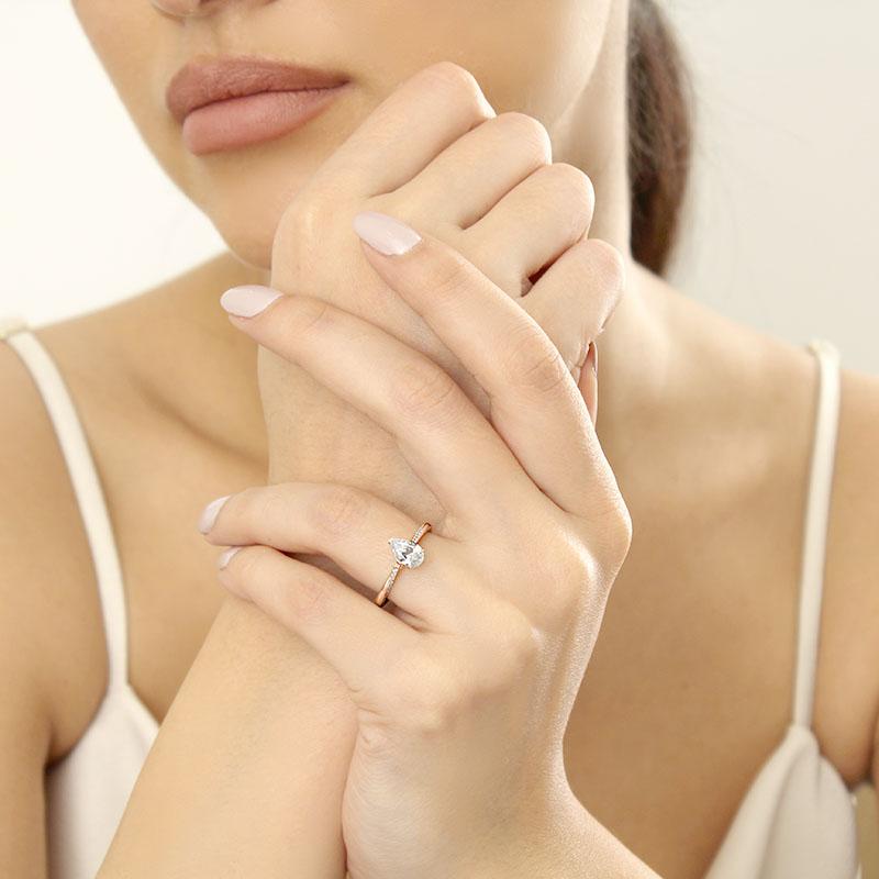 18ct Rose Gold Pear Shape Vortex Engagement Ring