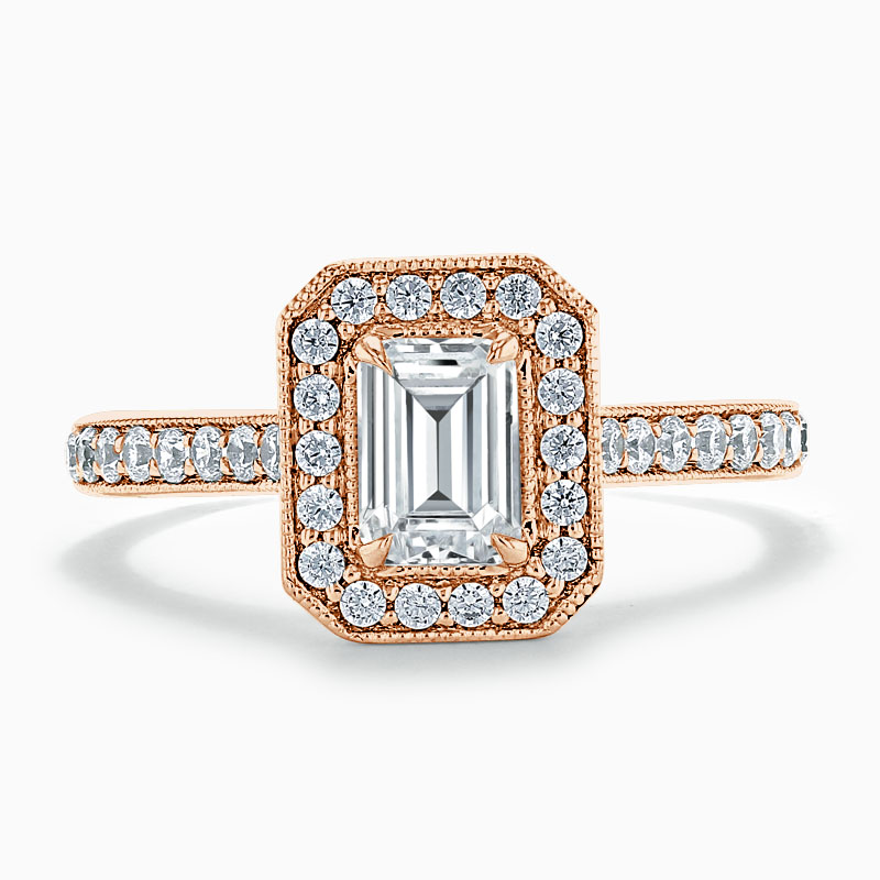 18ct Rose Gold Emerald Cut Vintage Pavé Halo Engagement Ring