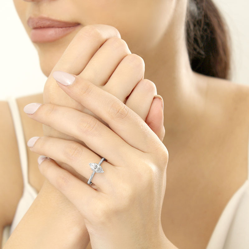 Platinum Marquise Cut Vortex Engagement Ring