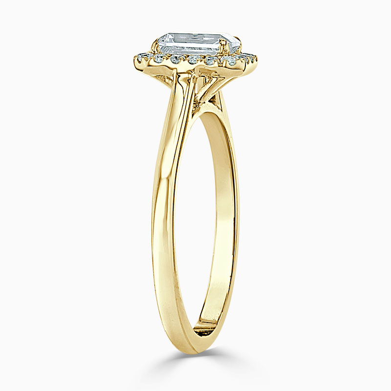 18ct Yellow Gold Emerald Cut Classic Plain Halo Engagement Ring