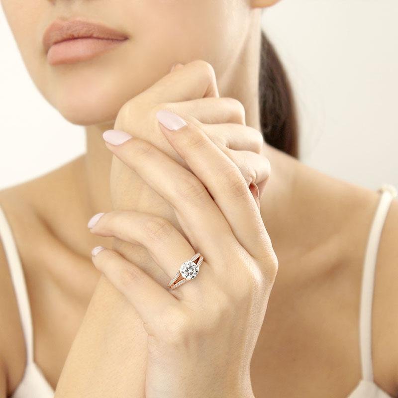 18ct Rose Gold Round Brilliant Pavé Split Shoulder Engagement Ring