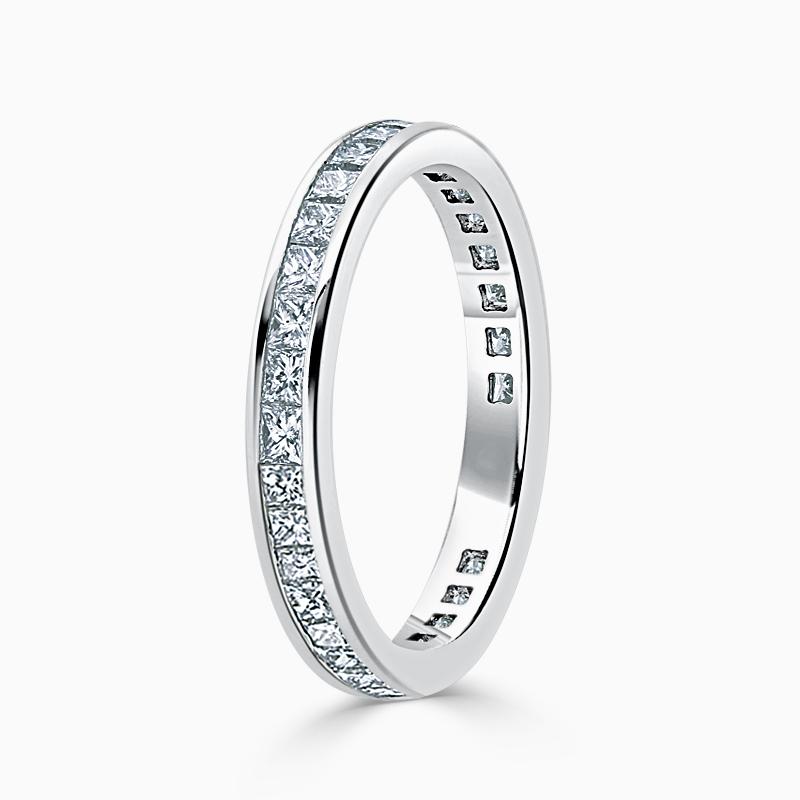 Platinum 2.75mm Princess Cut Channel Set Three Quarter Eternity Ring