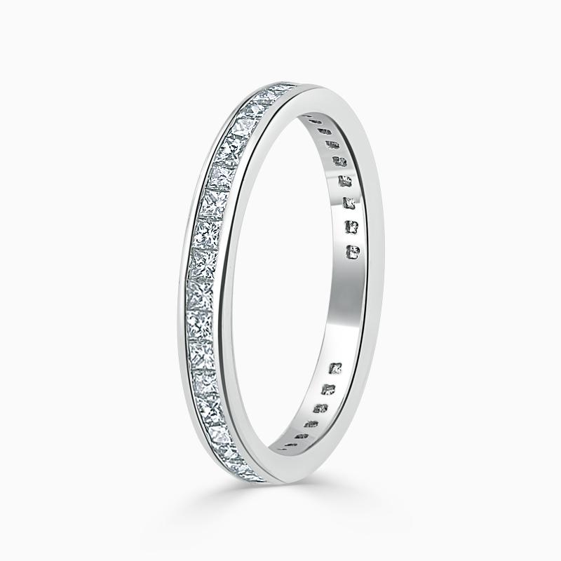 18ct White Gold 2.50mm Princess Cut Channel Set Three Quarter Eternity Ring