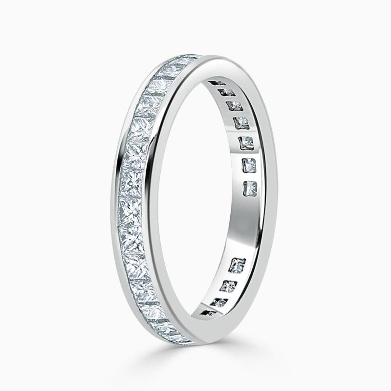 18ct White Gold 3.25mm Princess Cut Channel Set Three Quarter Eternity Ring