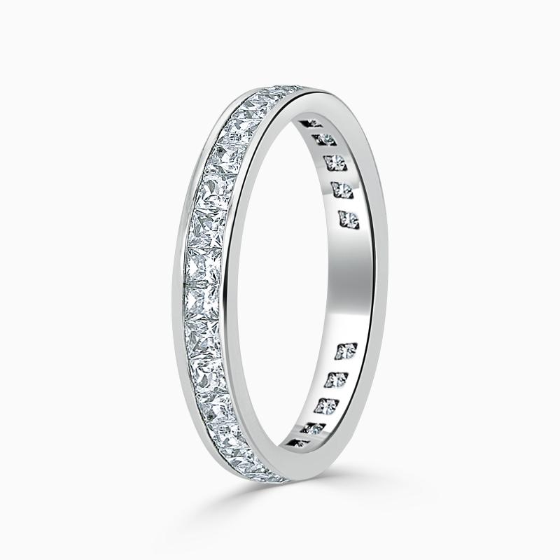 18ct White Gold 3.50mm Princess Cut Channel Set Three Quarter Eternity Ring