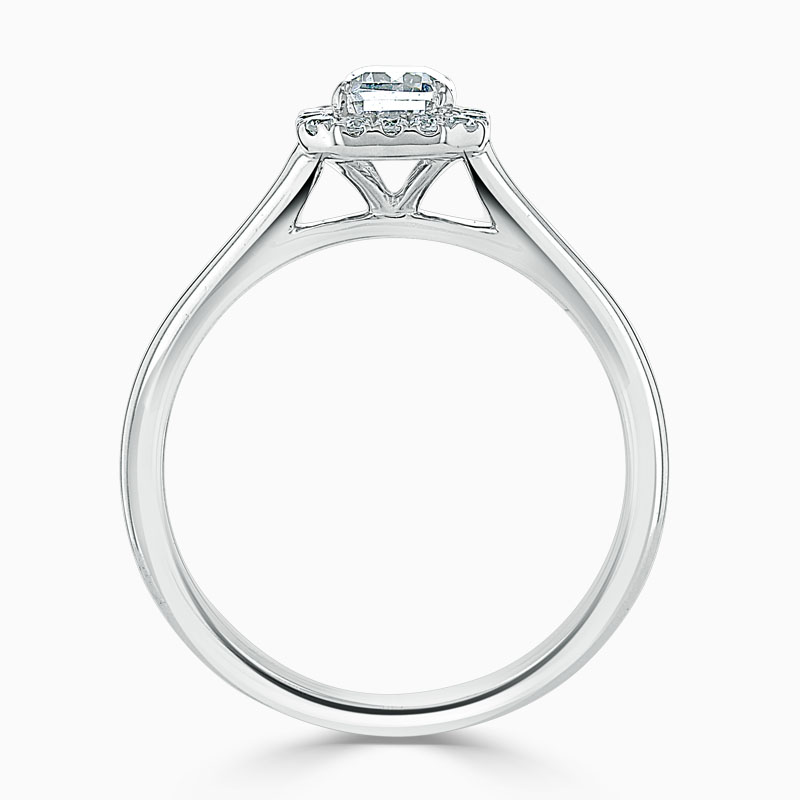 18ct White Gold Emerald Cut Classic Plain Halo Engagement Ring
