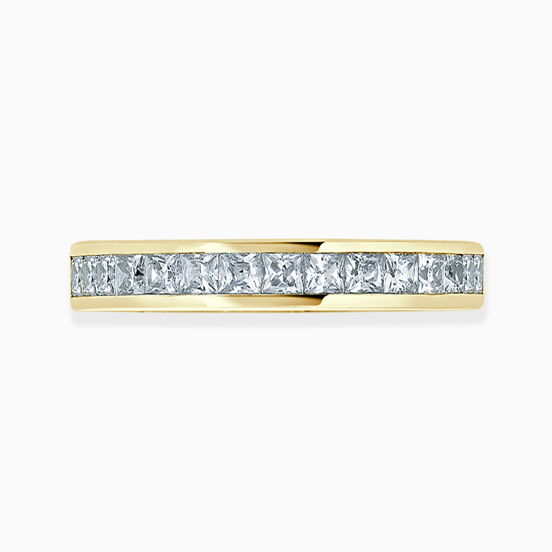 18ct Yellow Gold 3.00mm Princess Cut Channel Set Three Quarter Eternity Ring