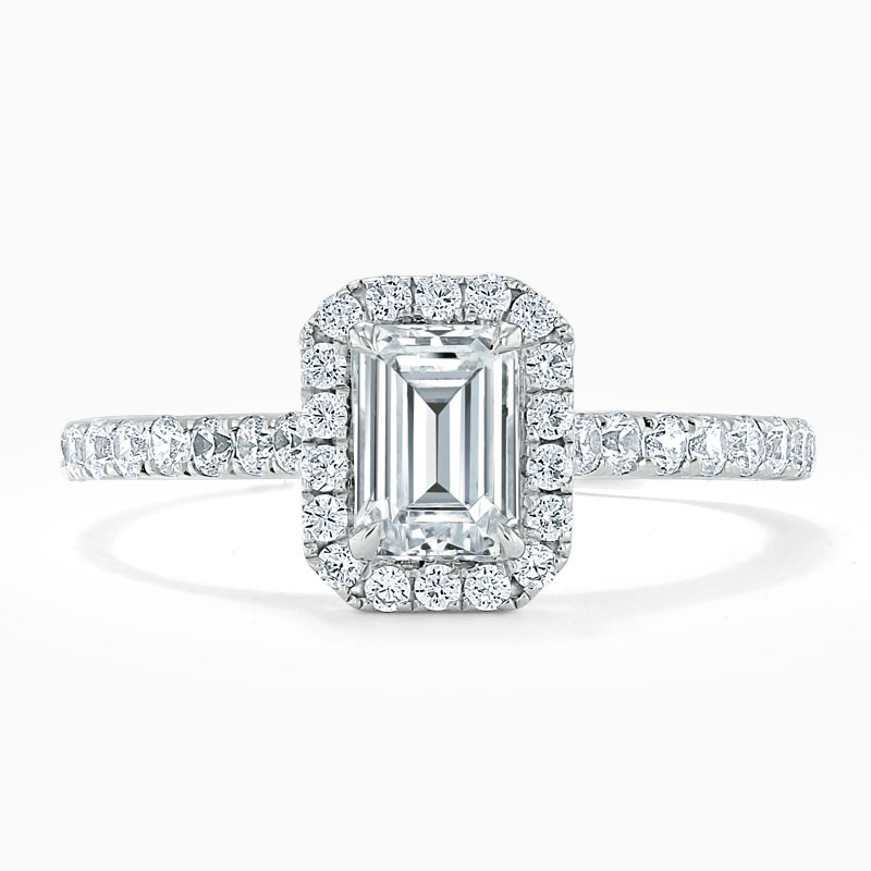 18ct White Gold Emerald Cut Classic Wedfit Halo Engagement Ring