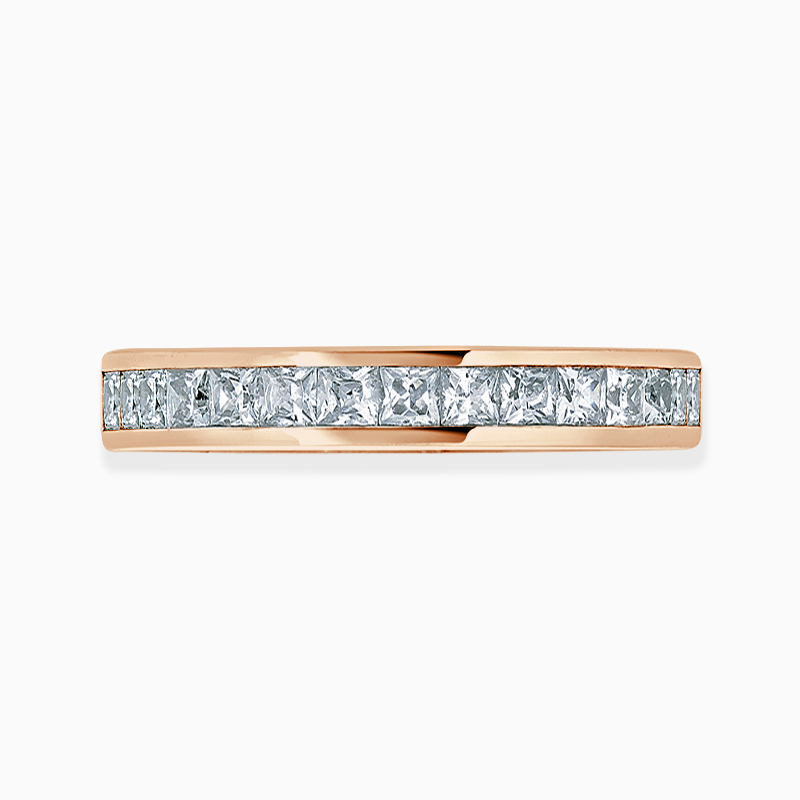 18ct Rose Gold 3.00mm Princess Cut Channel Set Three Quarter Eternity Ring